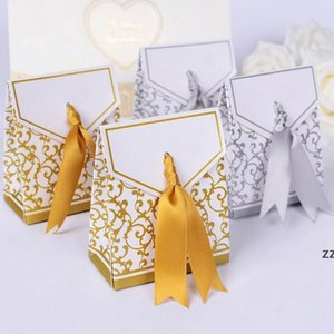 New 10pcs Creative Golden Silver Ribbon Wedding Favours Party Gift Candy Paper Box Cookie Candy gift bags Event Party Supplies HWE9567