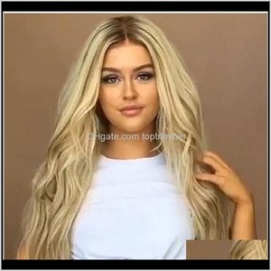 Hair Products Drop Delivery 2021 Ladies Kinky Curly Platinum Blonde Gradation Long Straight Dyeing Middle Bangs Fashion Wigs High Synthetic L