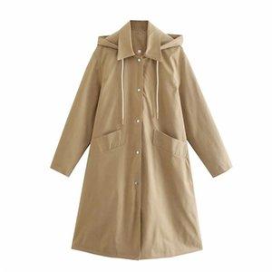 Women's Trench Coats Vogue Women Fashion Double Pockets Spirng Autumn Khaki Hooded Long Windbreaker Chic Girls Casual Drawstring Hoodies