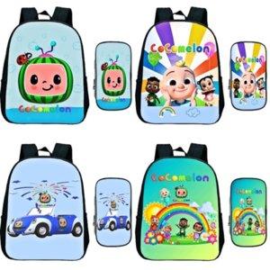 Stock Toddler Cocomelon Kindergarten Backpack Pen Bag 2pcs Set Children Anime Rucksack Kids Cartoon Knapsack Baby Start School Gift CO17