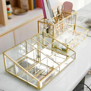 Bathroom Storage & Organization Cosmetics Tray Nail Polish Bottle Gold Glass Large Trays Display