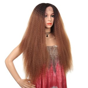 factory direct 32 inches Kinky Straight Synthetic Lace Front Frontal Wigs Simulation Human Hair T Color perruques de cheveux humains
