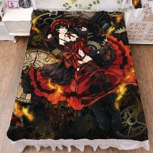 Sheets & Sets Coscase Japanese Anime DATE A LIVE Tokisaki Kurumi Nightmare Elohim Milk Fiber Bed Sheet Flannel Blanket Summer Quilt 150x200c