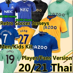 20 21 Everton F.C. the toffees كرة القدم الفانيلة # 19 جيمس # 7 ريتشارلي كين ديفيز كرة القدم قميص 1987 88 94 95 ريترو جيرسي الرجال كيت كيت