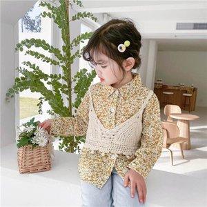 Shirts Children Cotton Girls Clothing Spring Autumn Long Sleeve Tops Blouses waistcoat Vest 2Pcs Sets 1-6T B4509
