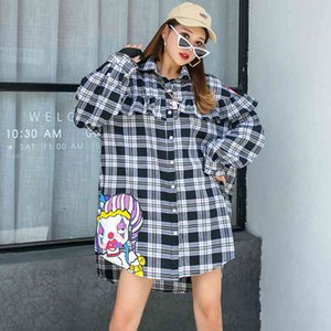 tee Thailand Tide Chess brand plied impression Female shoulder-drop Age loose chic hong kong flavor long sleeve shirt