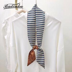Designer Slik Satin Hair Tie Scarf Bandana Women Luxury Long Skinny Purse Bag Handle Neck Scarfs For Ladies Foulards Scarves