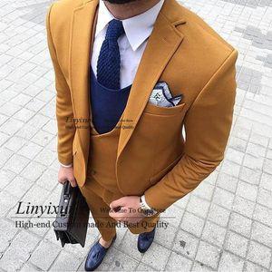 2020 New Fashion Mens Tweed Wool Suits Three-pieces Slim Fit Formal Shawl Lapel Business Tuxedos Groomman( Blazer+Vest+Pants )1