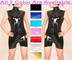 Sexy Women Men Short Body Suit Costumes Sleeveless 7 Color Shiny PVC Catsuit Unisex Bodysuit Front Extra Long Zipper Halloween Party Fancy Dress Cosplay Costume M733