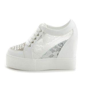 autumn white hidden wedge heels casual shoes woman bling platform shoes elevator 11cm highheels walking sneakers women