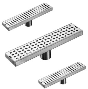 SUS304 Stainless Steel Grille Panel Large Flow Floor Drain ,Long Linear Drainage Channel Drain For Hotel Bathroom Kitchen