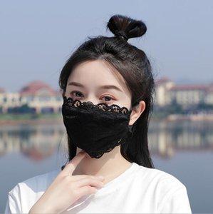 14 стиль открытый навесной навес марлевые кружева лица маска для лица удобная мягкая дышащая маска для лица многоразовый пылезащищенный велосипедная ткань лицо маска моющийся регулируемый ухо