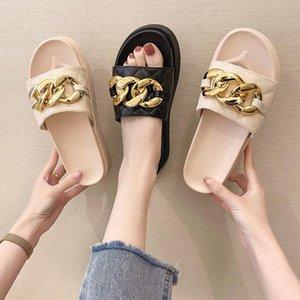 Shoes Woman 2021 Slippers For Swimming Pool Platform Rivet Luxury Slides Med Pantofle Beach Designer Flat Soft Summer PU Met