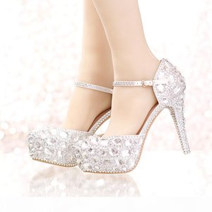 Silver Rhinestone Bridal Wedding Dress Shoes with Ankle Straps Round Toe Bride Shoes Platform Formal Dress Shoes Prom Party Pumps