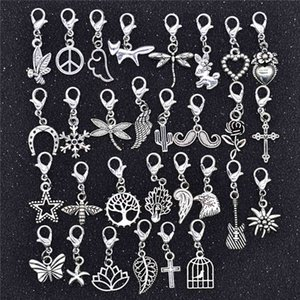 Yuenz 30pcs Mixed Styles Animal Heart Blade Flower Charms Carabiner Connection Bracelet Hangers Diy Jewelry for Making Accessories
