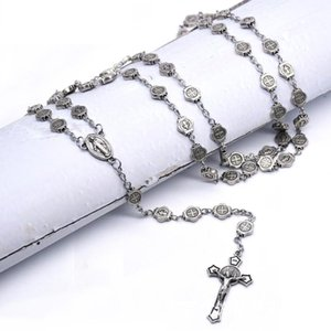 Vintage Silver Plated Cross Jesus Necklace Personality Bible Sweater Long Chain For Men Women Pray Hip Hop Jewelry Pendant Necklaces