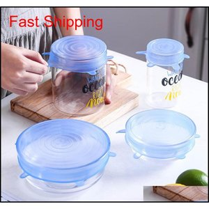 Sets Storage Housekeeping Organization Home & Gardenreusable Fresh Keeping Seal Ers Compression Universal Sile Stretch Lids Aessories Use Fo