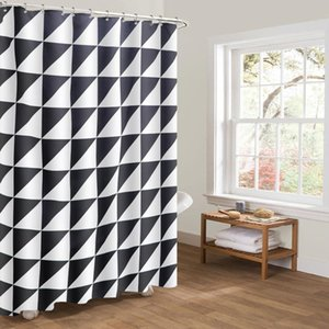 Shower Curtains 100% Polyester Chinese Woven Black And White Check Custom Printed 3D For Bathroom