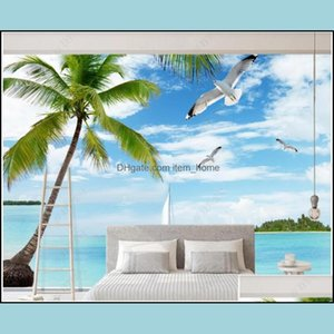 Décor & Garden3D Po Wallpaper Custom Mural Blue Sky And White Clouds Sea View Coconut Tree Home Decor Living Room For Walls 3 D Wallpapers D