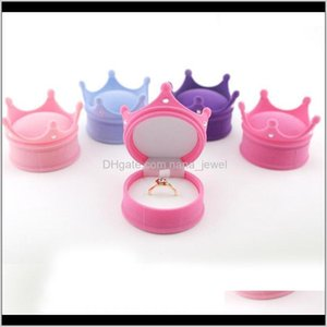 Boxes Packaging & Drop Delivery 2021 Lovely Crown Veet Display Box Ear Stud Necklace Jewelry Container Wedding Ring Gift Case Earrings Storag