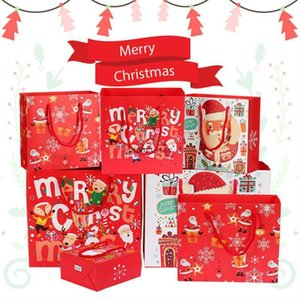 Red Paper Bags For Party Christmas Gift Pack Bag Snowflake Christmas Candy Box New Year Kids Favors Bag Decorations 2021 FY4764