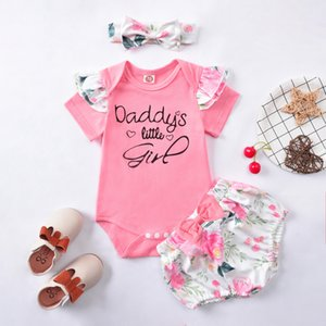 baby Girls Princess Outfits cute children infant letter printed fly sleeve romper + bow floral shorts + hairband 3pcs clothes sets S1004