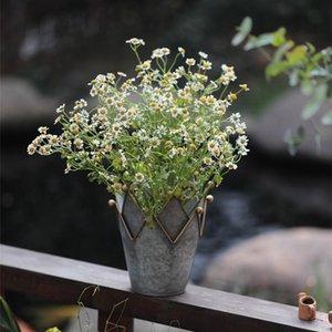 Retro American Nostalgic Gray Tin Crown Gardening Flower Pot Bucket Candle Holder Decoration Ornaments Sundries Vases