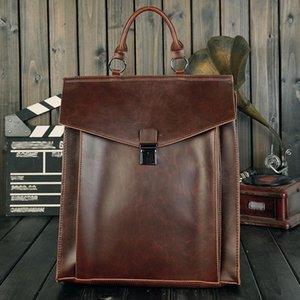 New Hand Bags Men 2021 British Laptop Backpack Designer Lock Bags Luxury Bag Men Leather Bookbag Retro Messenger Bag School