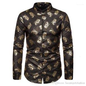 Homme à manches longues Tops Paisley Imprimer Hommes Designer Chemise de luxe Gold Hommes Hommes Casual Vêtements Styles de mode