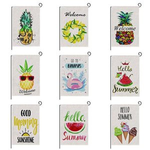 47*32cm Spring Summer Burlap Welcome Garden Flag Indoor Outdoor Double Sided House Yard Flag GWB6295