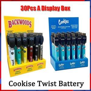 Biscotti Backwoods Twist Preheat VV Batteria 900mAh Tensione di fondo Caricabatterie USB regolabile Penna vape per 510 cartucce 30pcs Una scatola di visualizzazione