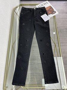 Lüks kadın kot 2021 ilkbahar yaz sonbahar siyah nakış moda tasarımcı sıska, ince marka aynı stil 0528-1