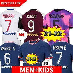 20 21 22 soccer jersey MBAPPE VERRATTI 2020 2021 Player version MARQUINHOS KIMPEMBE DI MARIA KEAN football Jersey soccer tops men shirt and kids sets