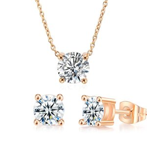 Earrings & Necklace Classic Wedding Jewelry Sets For Women Crystal Moissanite Diamond Fashion Rose Gold Mariage Accessories S565