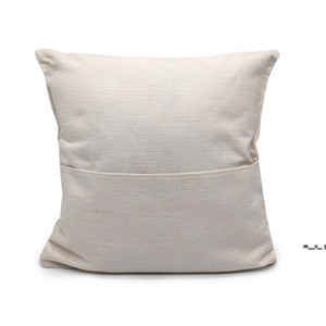 NEW40*40cm Sublimation Blank Book Pocket Pillow Cover Solid Color DIY Polyester Linen Cushion Covers Home Decor CCE8514