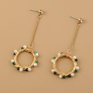 2021 new jewelry long tassel green natural stone beads court style elegant Earrings