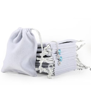 New Velvet Jewelry Drawstring Cord Gift Bags Pink Ice gray Dust Proof Cosmetic Storage Bags GWE10543