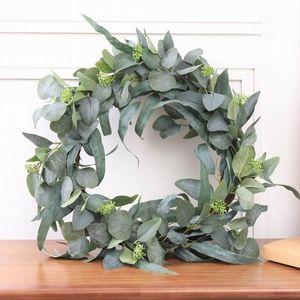 المزهريات الاصطناعي المساحات الخضراء وهمية الأوكالبتوس أوراق الزهر الشجيرات النباتات البلاستيكية للمنزل حفل زفاف الديكور