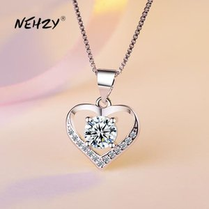 Nehzy 925 Sterling Silver New Woman Fashion Jewelry High Quality Crystal Zircon Heart-shaped Retro Pendant Necklace Length 45cm