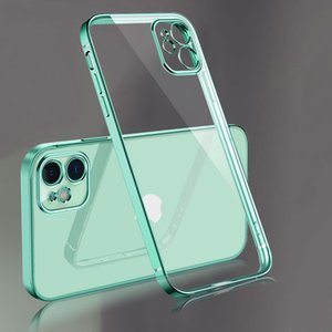 11 Luxury Mini Square Max Frame X Plating Pro Clear Case SE For XR 12 XS 6 7 8 Plus Transparent Silicone 88