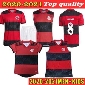 Personalizado 2022/2021 Jersey de futebol 21 Pedro 14 de Arrascaeta Home 7 E. Ribeiro 9 Gabi Fãs Versão 8 Gerson Gabriel B. Man + Kids Football Shirt