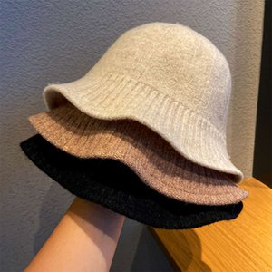 chapeauWoollen fisherman's Women's autumn and winter Korean version versatile face small bucket big headband knitted basin Hat