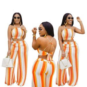 Womens Two Piece Jogging Sets Sexy Backless Halter Lace Up Top Wide Leg 2 Piece Set New Women Designer Clothes 2020