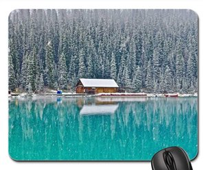 Mouse Pad - Cabin Lake Louise Canada Forest Outdoor Scenic