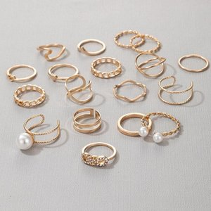 19pcs set Bohemian Vintage Finger Rings Kits Punk Pearl Geometry Korean Women Jewelry Female Party Gifts Masculino 2021 Earrings & Necklace
