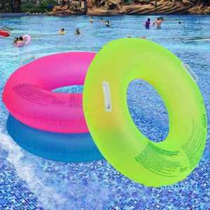 Wholesale-90 100CM Summer Fluorescent Inflatable Ring Pool Floats Swimming Circle Swimming Wheel For Adult kids Water Sports Toys