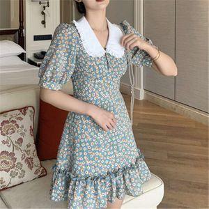 Dresses sets Women Chiffon Dress 2021 Summer Fashion Women's Week Mouw Vintage Flower Printer Peter Pan Kraag Boho Jurk Casual Vestidos 5CAK