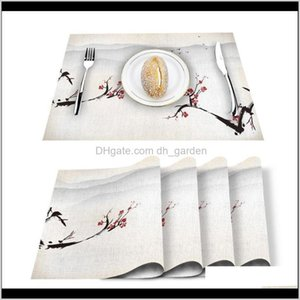 Runner Red Plum Flower Ink Scenery Printed Cotton Linen Kitchen Placemat Dining Table Mat Pads Cup Mats Home Decor Sxjv7 Gb3V7