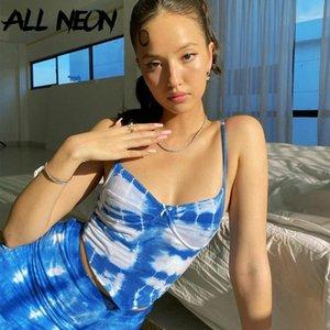 Allneon E-Girl Tea Tear Team Spaghetti Ремешок Симпатичные Урожай Урожай Y2K Летняя мода Бедные Тощие Красочные Camis Streetwear Party Tops1