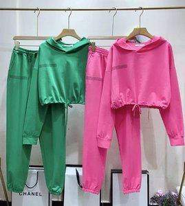 Amolapha Woman Letters Hoodies Sweatshirts Pants Suits Fashion Bright Color Hooded Jogger Trousers Sets